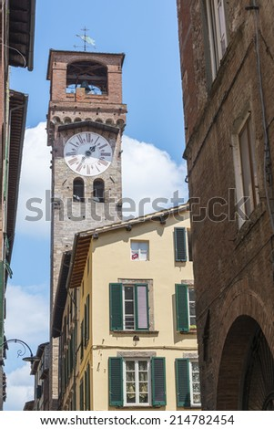 Lucca (Tuscany, Italy), street with historic buildings