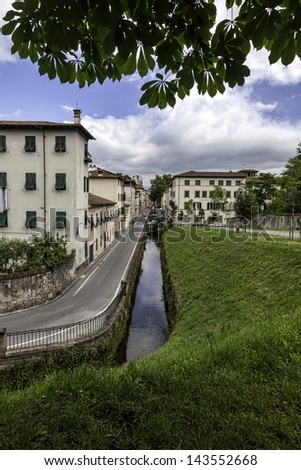 Lucca, Tuscany, Italy. Streets with canals - stock photo