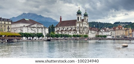Lucerne and Mount Pilatus, Switzerland. Panorama of three horizontal frames