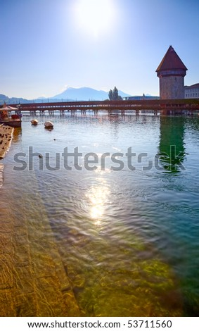 Lucerne city in Switzerland. View on river.