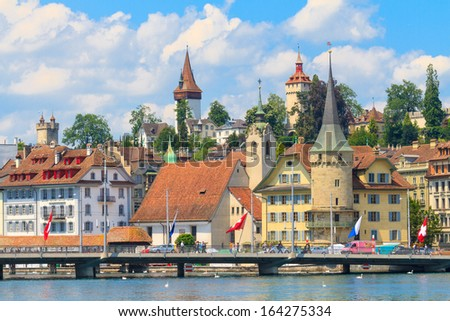Lucerne city view with river Reuss, Switzerland - stock photo