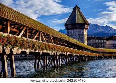 Lucerne, Switzerland. European vacation, living life style, architecture and travel concept. - stock photo