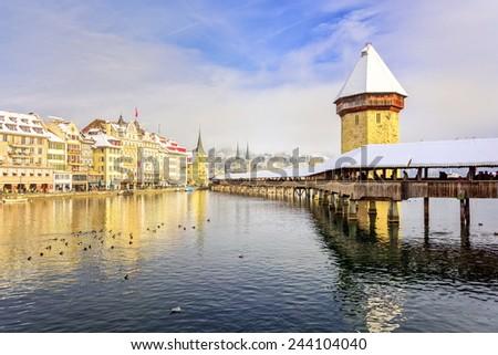 Lucerne, Switzerland, in winter - stock photo