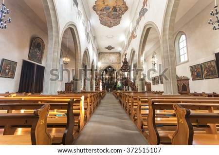 LUCERNE, SWITZERLAND - JANUARY 15, 2016: Interior of the Franciscan Church (Franziskanerkirche)