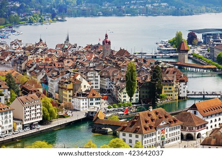 LUCERNE, SWITZERLAND - MAY 04, 2016: General view towards Old City. A variety of buildings shows unique character of the City which offers multitude of tourist attractions