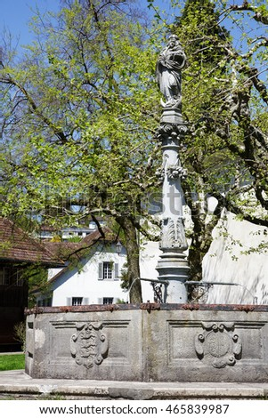 LUCERNE, SWITZERLAND - MAY 06, 2016: Mary's fountain probably dates back from the late 17th century and is located by the Church of St. Leodegar