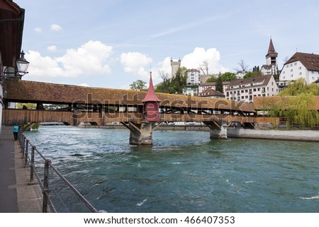 LUCERNE, SWITZERLAND - MAY 04, 2016: Spreuer Bridge was built in 1408 over Reuss river and was restored after flood in 1566, formerly also called Muhlenbrucke.