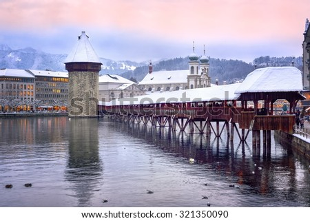 Lucerne, Switzerland, on a winter evening - stock photo