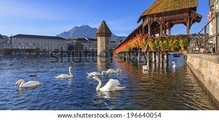 Lucerne, Switzerland - the Chapel Bridge in early morning - stock photo
