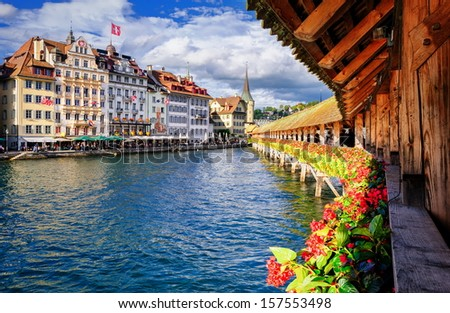 Lucerne, Switzerland, view on the old city from famous Chapel Bridge - stock photo