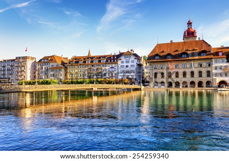Lucerne, Switzerland, view to the Town Hall over the Reuss river - stock photo