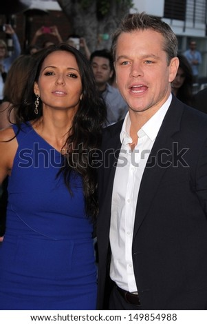 "Luciana Barroso and Matt Damon at the ""Elysium"" Los Angeles Premiere, Village Theater, Westwood, CA 08-07-13"