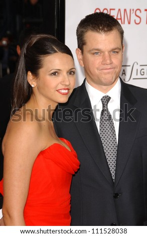 "Luciana Barroso and Matt Damon at the North American Premiere of ""Ocean's Thirteen"". Grauman's Chinese Theatre, Hollywood, CA. 06-05-07 - stock photo"