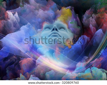 Lucid Dreaming series. Backdrop of human face and colorful fractal clouds on the subject of dreams, mind, spirituality, imagination and inner world