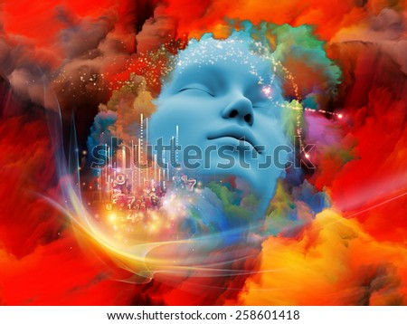 Lucid Dreaming series. Composition of human face and colorful fractal clouds suitable as a backdrop for the projects on dreams, mind, spirituality, imagination and inner world - stock photo
