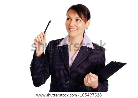 Luck Caucasian business woman standing with staff on a white background