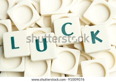 Luck word made by leter pieces