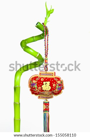 Lucky Bamboo and Chinese New Year Hanging Decoration, Isolated on White Background - stock photo