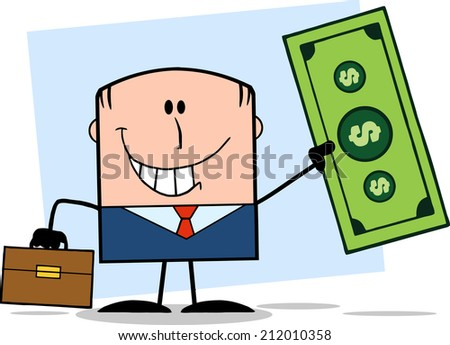 Lucky Businessman With Briefcase Holding A Dollar Bill Cartoon Character On Background