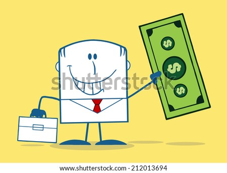 Lucky Businessman With Briefcase Holding A Dollar Bill Monochrome Cartoon Character On Yellow Background