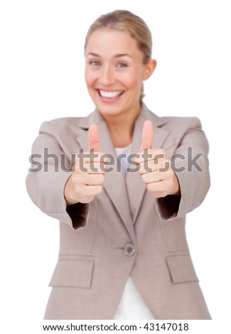 Lucky businesswoman with thumbs up against a white background