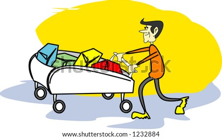 Lucky client - man and trolley - illustration