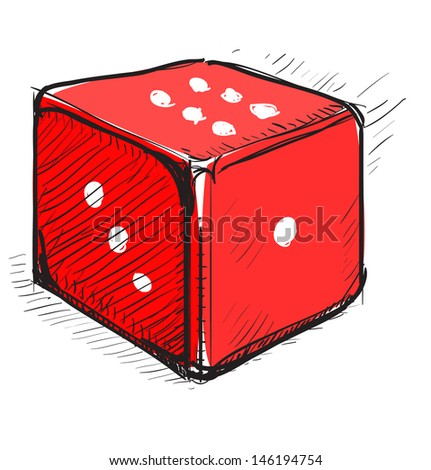 Lucky dice cartoon icon - stock photo