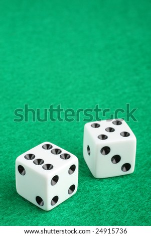 Lucky eleven dice macro closeup with copy space - stock photo