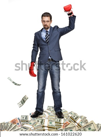Lucky gentleman won a large sum of money / winner of the competition - isolated on white background  - stock photo