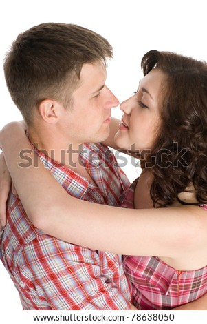 Lucky girl and guy hug. Isolated on white. - stock photo