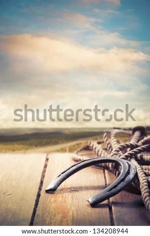 Lucky horseshoe on a porch - stock photo
