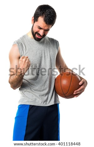 Lucky man playing basketball