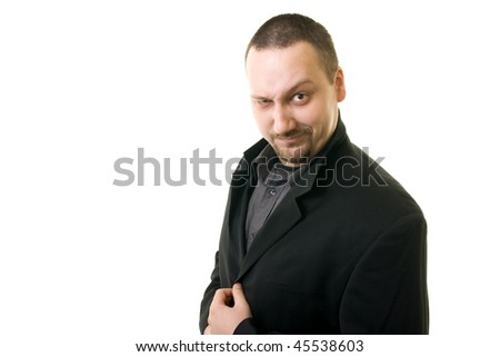 lucky man  wink to one eye - stock photo
