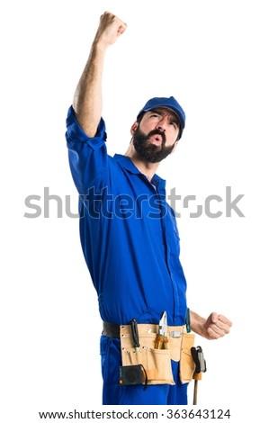 Lucky plumber - stock photo