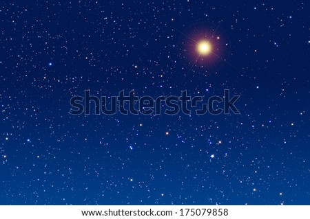 Lucky star in zodiac with background stars shaped (spikes).