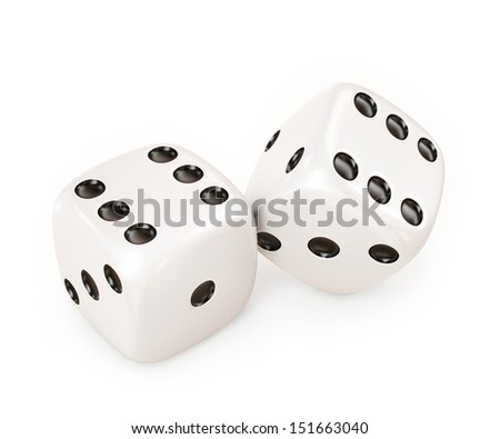 lucky white dice isolated on white background - stock photo