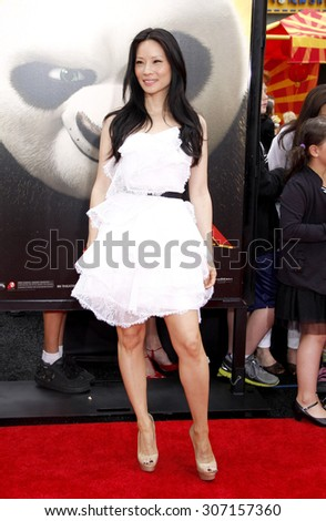 Lucy Liu at the Los Angeles premiere of 'Kung Fu Panda 2' held at the Grauman's Chinese Theater in Hollywood, USA on May 22, 2011. - stock photo