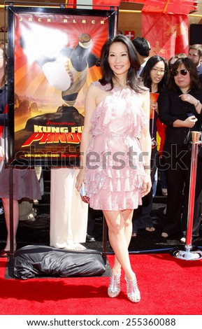 "Lucy Liu attends the Los Angeles Premiere of ""Kung Fu Panda"" held at the Grauman's Chinese Theater in Hollywood, California, United States on June 1, 2008.  - stock photo"