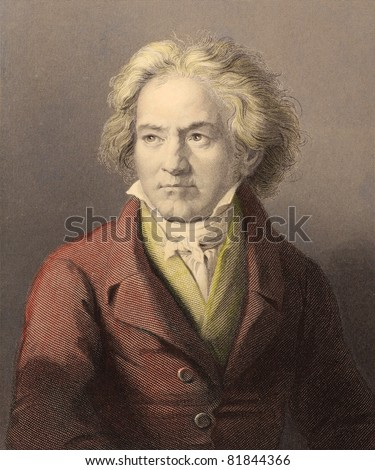 Ludwig van Beethoven (1770-1827). Engraved by W.Holl and published in The Gallery Of Portraits With Memoirs encyclopedia, United Kingdom, 1837.