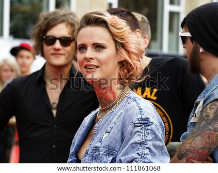 LUDWIGSBURG - AUGUST 29: Musician Jennifer Rostock, many national and international superstars from the music scene in the Forum Theatre celebrated in Ludwigsburg, Germany. August 29, 2012. - stock photo