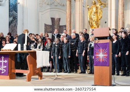 LUDWIGSBURG, GERMANY - MARCH 8, 2015: The church choir The Voices Of Peace perform during the worship service in the Friedenskirche - Peace Church - on March 8, 2015 in Ludwigsburg, Germany.  - stock photo