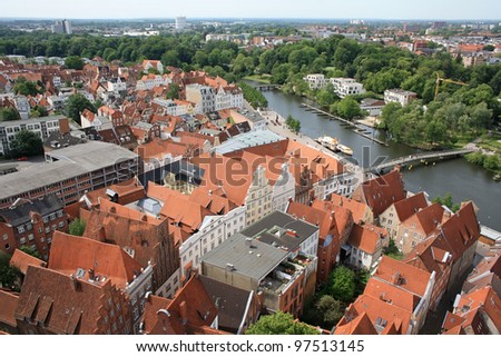 Luebeck skyline from above