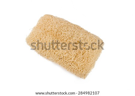 Luffa, loofa used in skin care on a white background.
