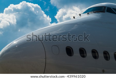 Lufthansa 747-700 nose and cockpit on the ILA 2016 in Berlin with some clouds in the background, Germany - stock photo
