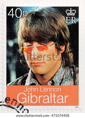 LUGA, RUSSIA - AUGUST 19, 2016: A stamp printed by GIBRALTAR shows image portrait of famous English musician, composer, singer and songwriter John Lennon, circa 1999.