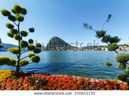 Lugano, Switzerland - Juli 31, 2014: Images of the Gulf of Lugano from Monte Bre above the City.