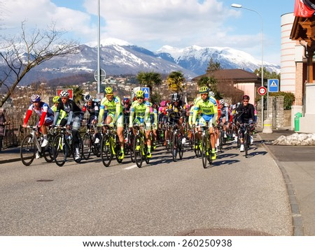 "Lugano, Switzerland - March 01, 2015: Cycling race ""Grand Prix of Lugano in 2015,"" This is the 69th edition and takes place along the streets of the city on the banks of Lake Lugano - stock photo"
