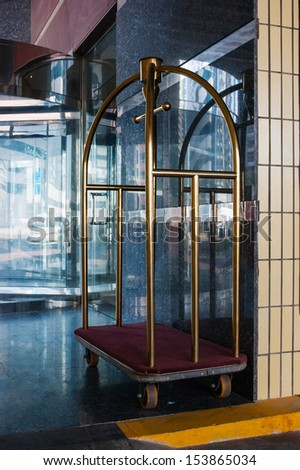 luggage cart at the hotel - stock photo
