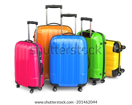 Luggage. Colorful suitcases on white isolated background. 3d - stock photo