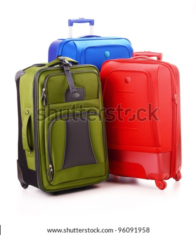 Luggage consisting of three large suitcases isolated on white